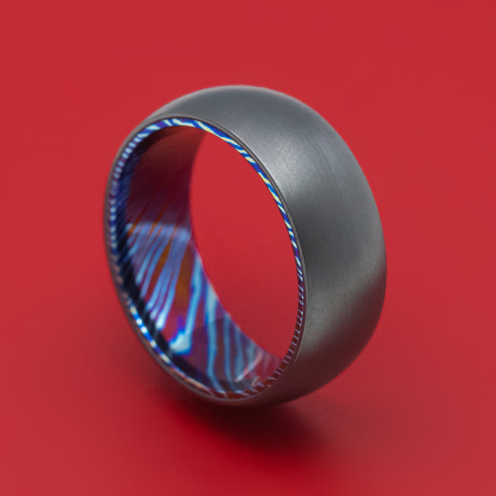 Kuro-Ti Twisted Titanium Black Zirconium Heat-Treated Ring Custom Made Band