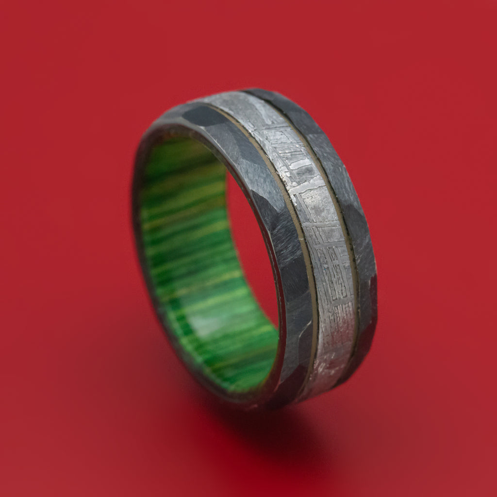 Black Zirconium and Meteorite Ring with Cerakote Accent and Wood Sleeve