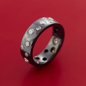 Black Zirconium Staggered Diamond Ring with 15 Brilliant Diamonds