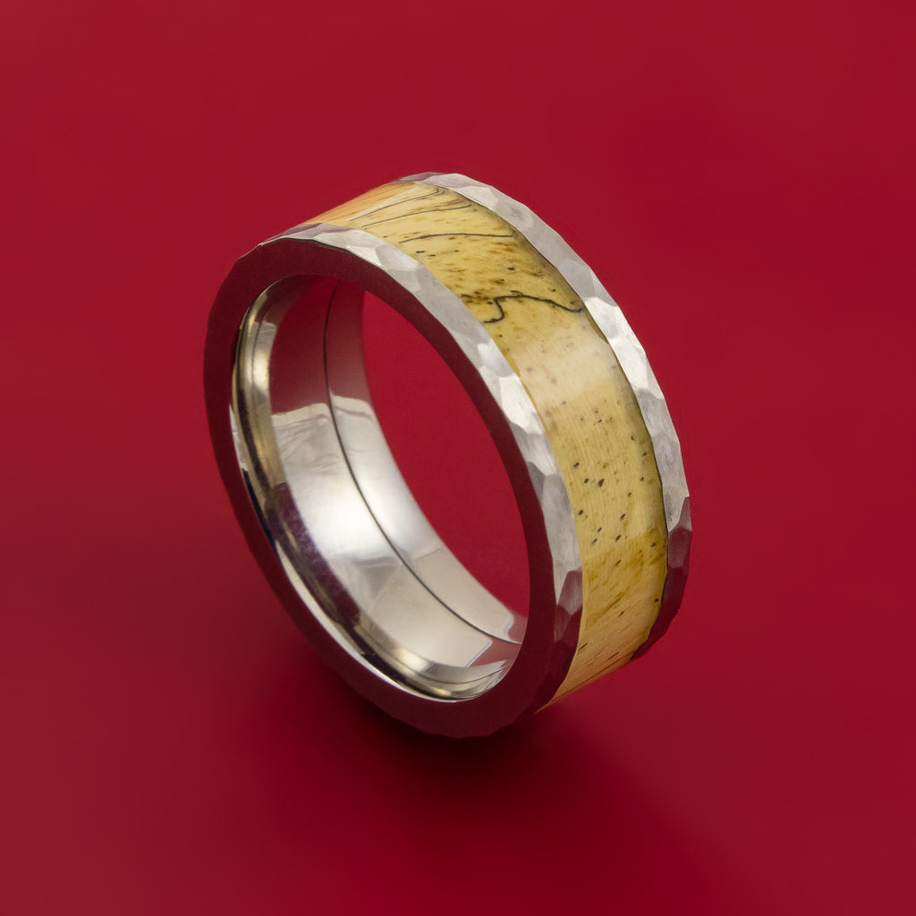 Wood Ring and Hammered Titanium Ring inlaid with SPALTED TAMARIND Custom Made to Any Size and Optional Wood Types