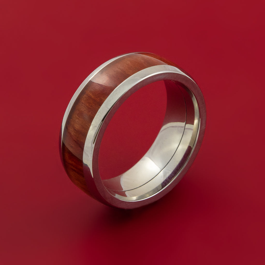 Wood Ring and Titanium Ring inlaid with RED HEART WOOD Custom Made to Any Size and Optional Wood Types - Stonebrook Jewelry  - 4