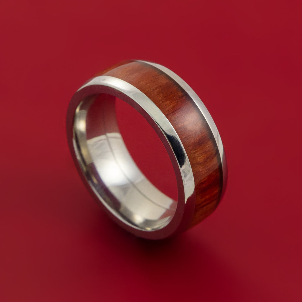 Wood Ring and Titanium Ring inlaid with RED HEART WOOD Custom Made to Any Size and Optional Wood Types by Stonebrook Jewelry