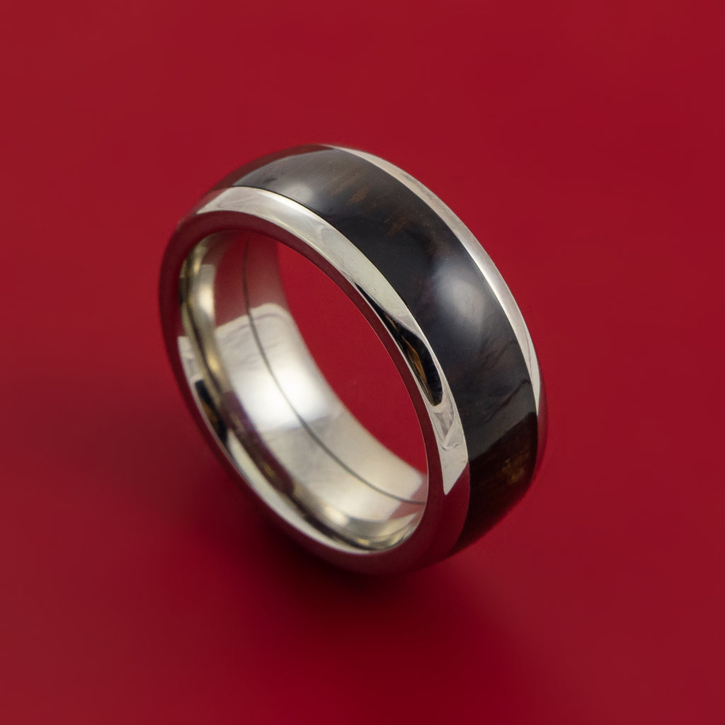Wood Ring and Titanium Ring inlaid with WENGE WOOD Custom Made to Any Size and Optional Wood Types
