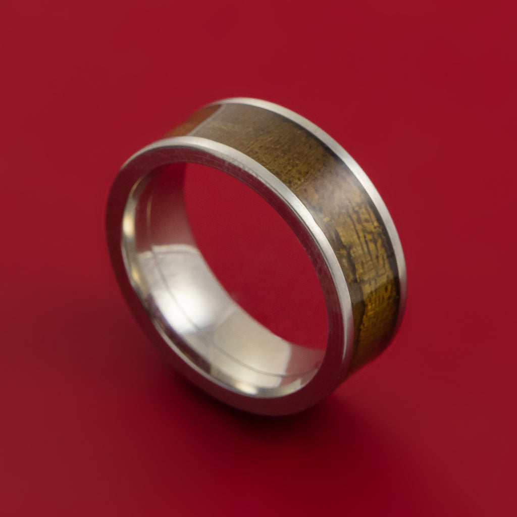 Wood Ring and Titanium Ring inlaid with THUYA BURL WOOD Custom Made to Any Size and Optional Wood Types