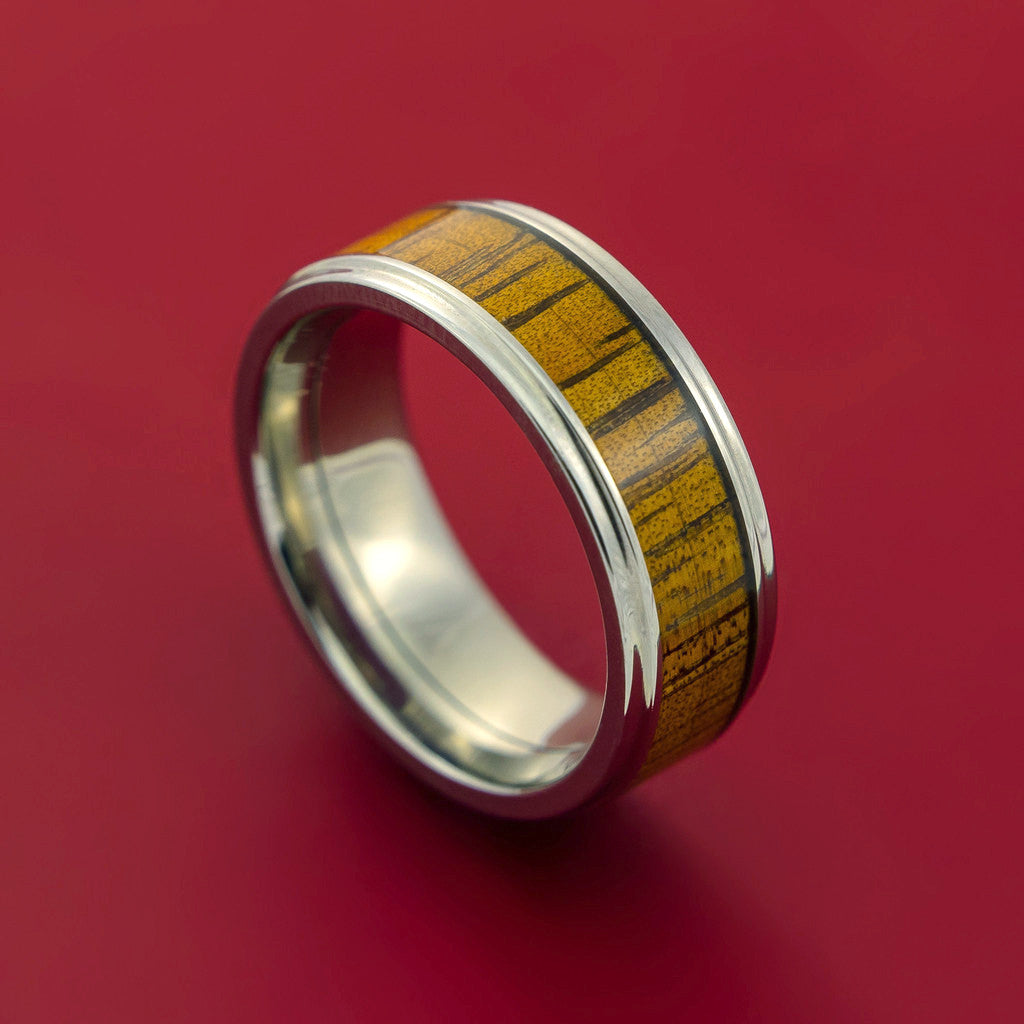 Wood Ring and Titanium Ring inlaid with LEOPARD WOOD Custom Made to Any Size and Optional Wood Types