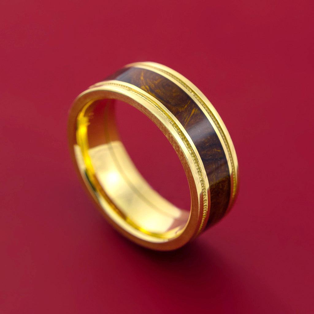 Wood Ring DESERT IRONWOOD BURL HARD WOOD in 14K Yellow Gold Wedding Band Made to any Sizing and Width