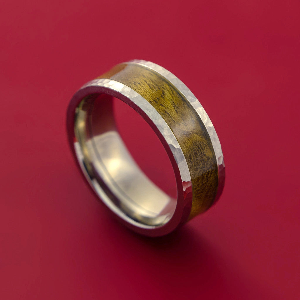 Wood Ring and Hammered Titanium Ring inlaid with THUYA BURL Custom Made to Any Size and Optional Wood Types
