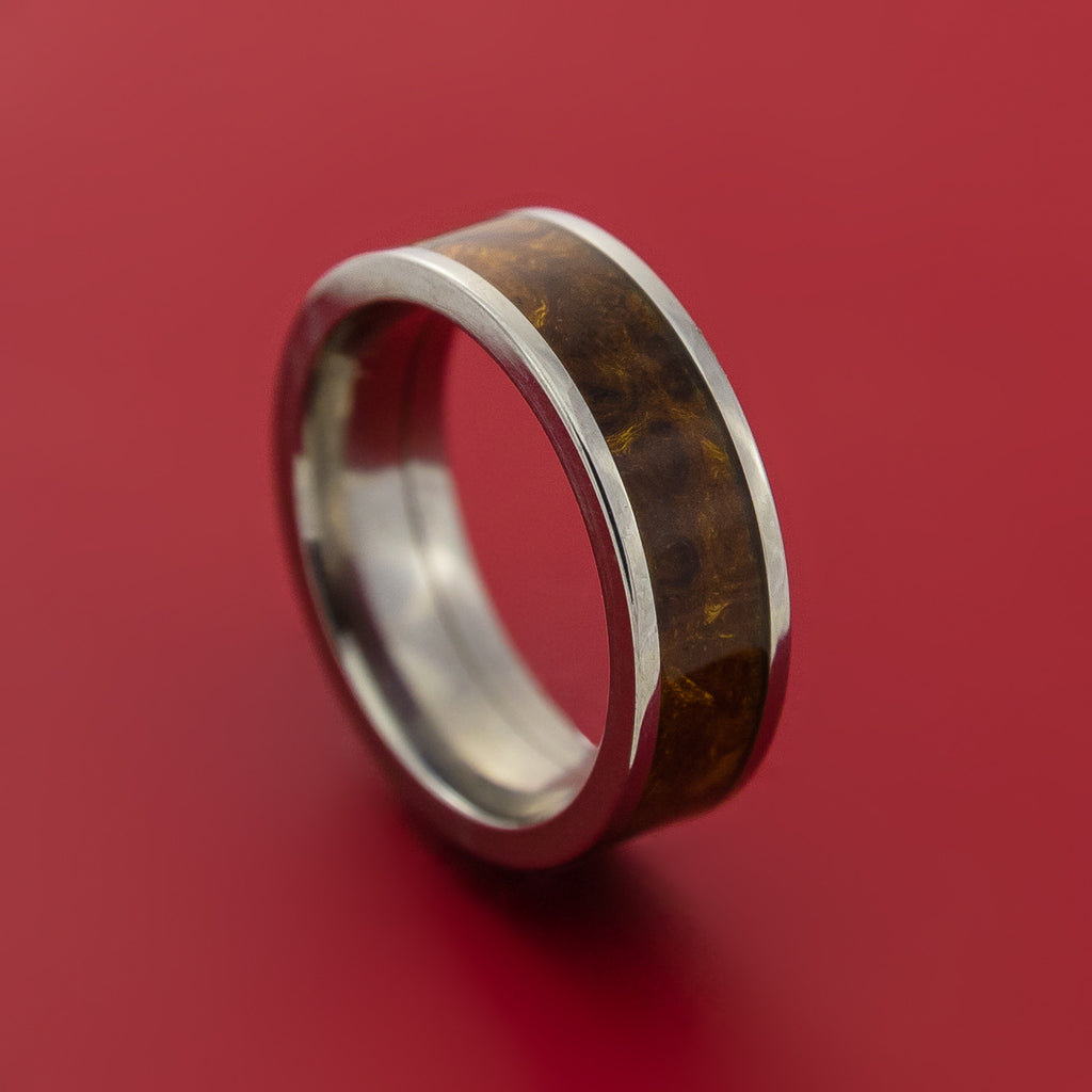 Wood Ring and Titanium Ring inlaid with DESERT IRONWOOD BURL WOOD Custom Made to Any Size and Optional Wood Types by Stonebrook Jewelry