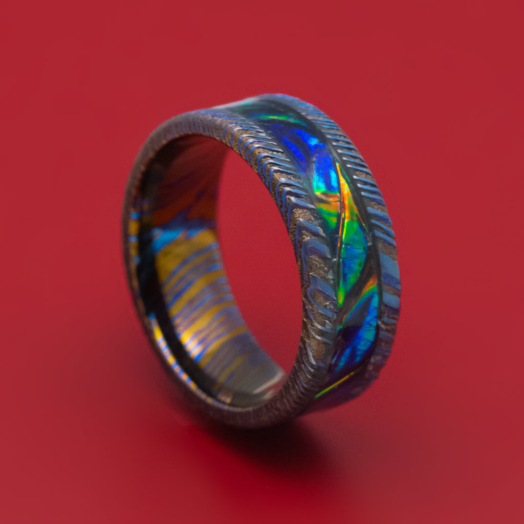 Kuro-Ti and Dichrolam Inlay Ring Custom Made Band