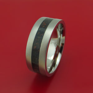 Titanium And Mixed Dinosaur Bone Ring Custom Made Fossil Band