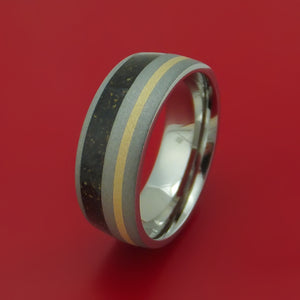 Titanium And Mixed Dinosaur Bone Ring With 14K Yellow Gold Custom Made Fossil Band