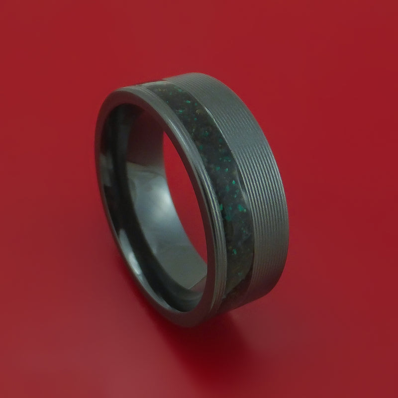 Black Zirconium Ring with Black Dinosaur Bone and Malachite Mixed Mosaic Inlay Custom Made Band