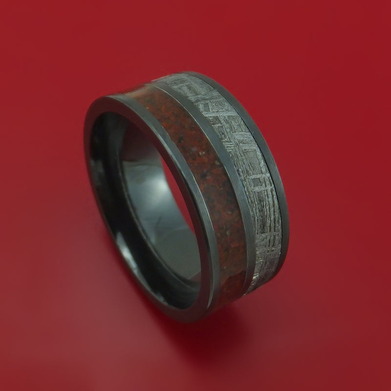 Black Zirconium Mixed Dinosaur Bone And Gibeon Meteorite Ring Custom Made Fossil Band
