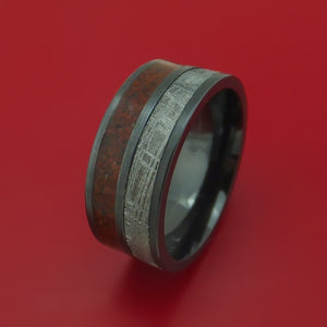 Black Zirconium Ring with Meteorite and Red and Black Dinosaur Bone Mixed Mosaic Inlays Custom Made Band