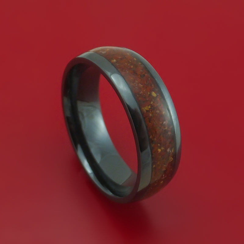 Black Zirconium Ring with Red Dinosaur Bone and Tan Dinosaur Bone Mixed Mosaic Inlay Custom Made Band