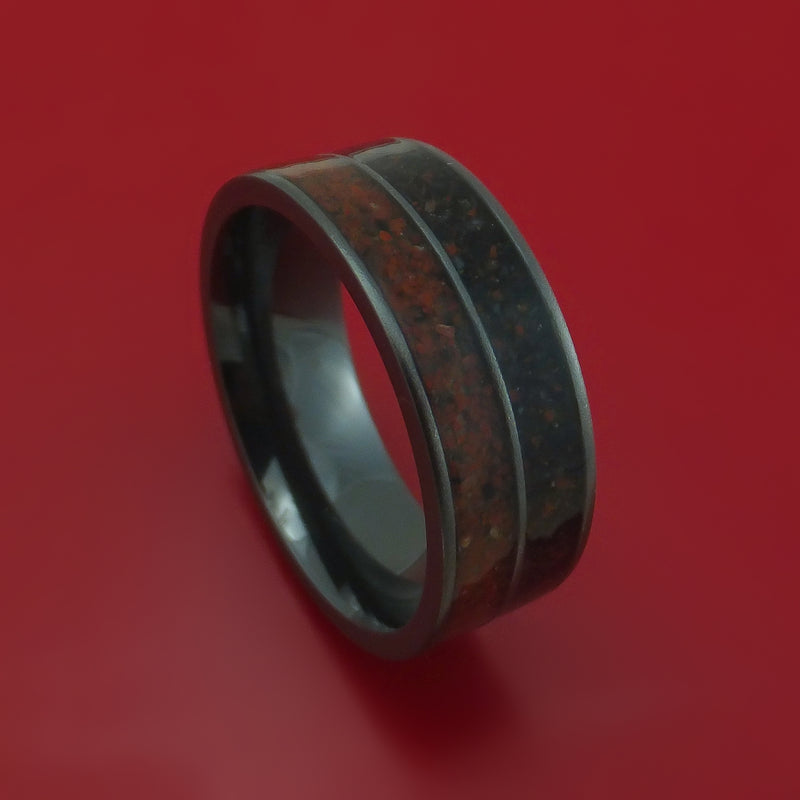 Black Zirconium Mixed Dinosaur Bone Ring Custom Made Fossil Band
