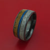 Black Zirconium Mixed Dinosaur Bone And Gibeon Meteorite Ring With Cerakote Inlay Custom Made Fossil Band