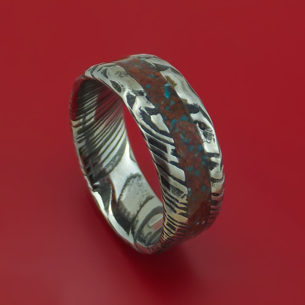 Kuro Damascus Steel And Red Dinosaur Bone with Turquoise Rock Hammered Ring Custom Made Fossil Band