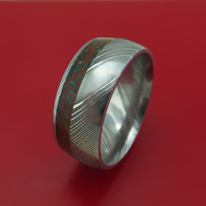 Damascus Steel And Red Dinosaur Bone with Malachite Ring Custom Made Fossil Band