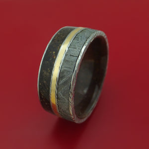 Kuro Damascus Steel Mixed Dinosaur Bone And Gibeon Meteorite Ring With Kauri Wood Sleeve And 14K Yellow Gold Inlay Custom Made Fossil Band