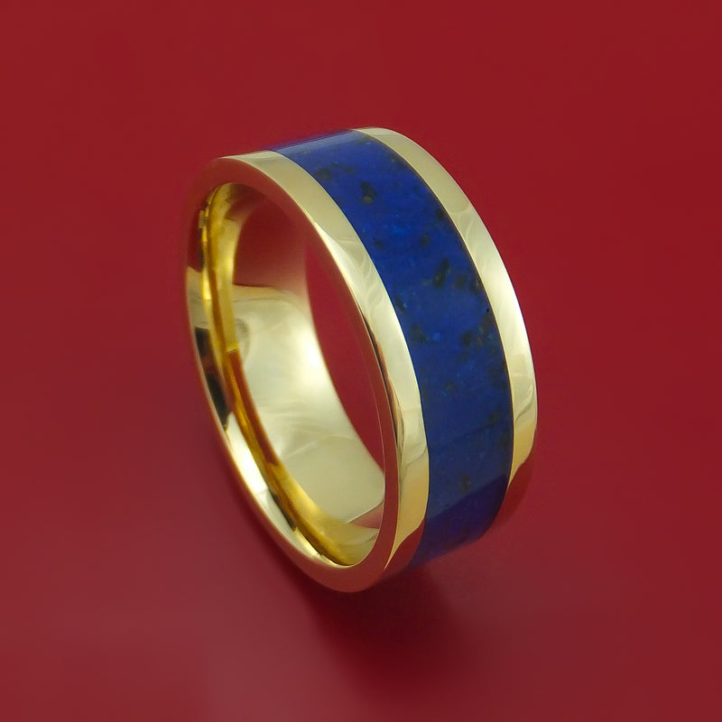 14k Yellow Gold Ring with Lapis and Black Dinosaur Bone Mixed Mosaic Inlay Custom Made Band