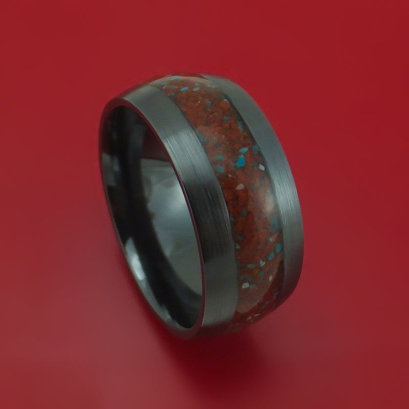 Black Zirconium Red Dinosaur Bone with Turquoise Ring Custom Made Fossil Band