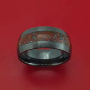 Black Zirconium Ring with Red Dinosaur Bone and Turquoise Mixed Mosaic Inlay Custom Made Band