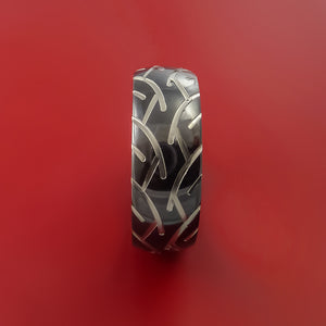 Black Zirconium Ring with Motorcycle Tire Tread Pattern Inlay Custom Made Band