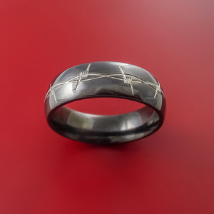 Black Zirconium Barb Wire Ring Custom Made Any Size