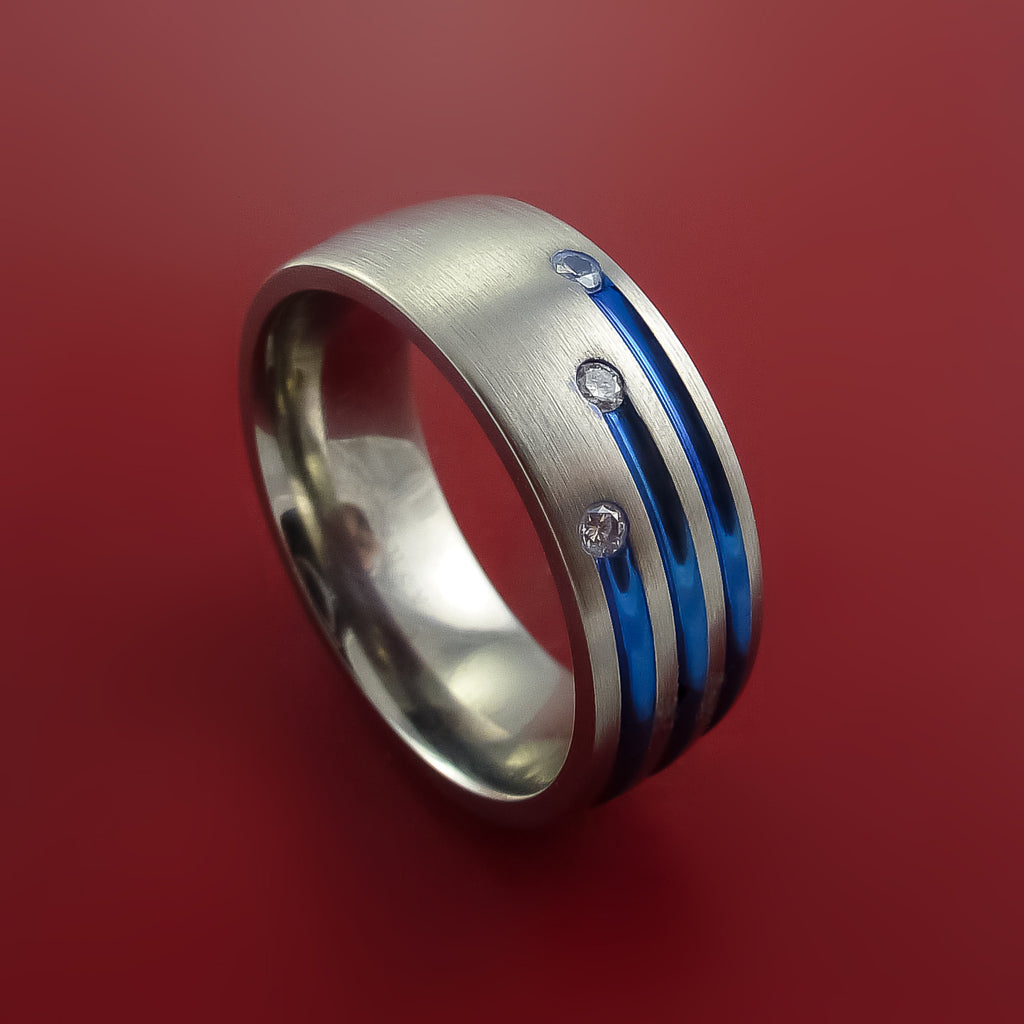 Titanium Ring with Anodized Inlay and Diamonds Custom Made Band