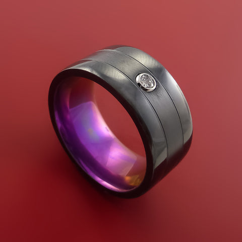 Black Zirconium Ring with Raised Beveled Moissanite Stone Modern Style Anodized Band Custom Made