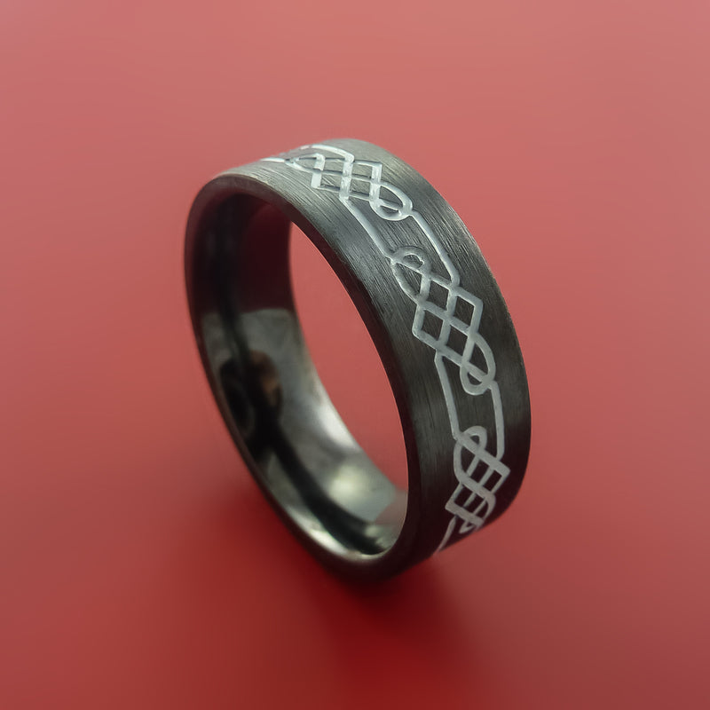 Black Zirconium Ring with Etched Celtic Design and Cerakote Inlays Custom Made Band