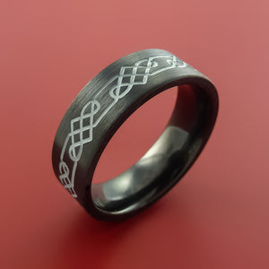 Black Zirconium Celtic Trinity Ring Irish Knot Design Band Any Size Ring