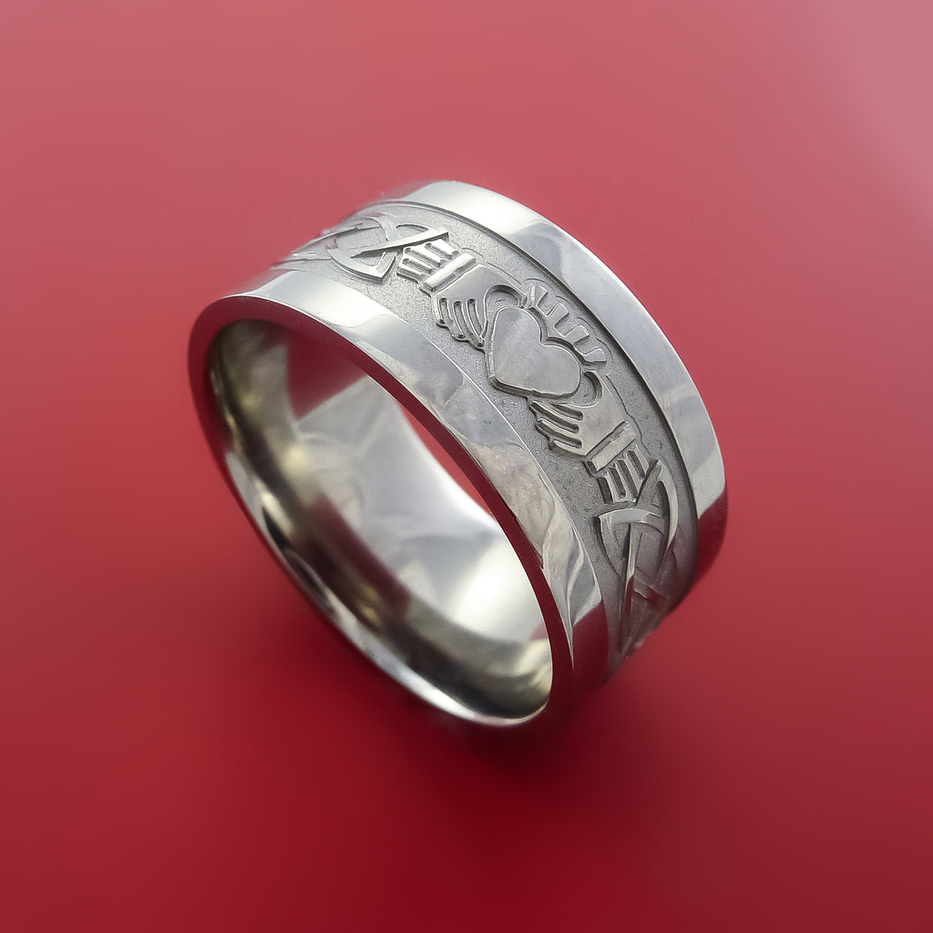 Titanium Celtic Irish Claddagh Ring Hands Clasping a Heart Band Carved Any Size Ring 4 to 20 by Stonebrook Jewelry