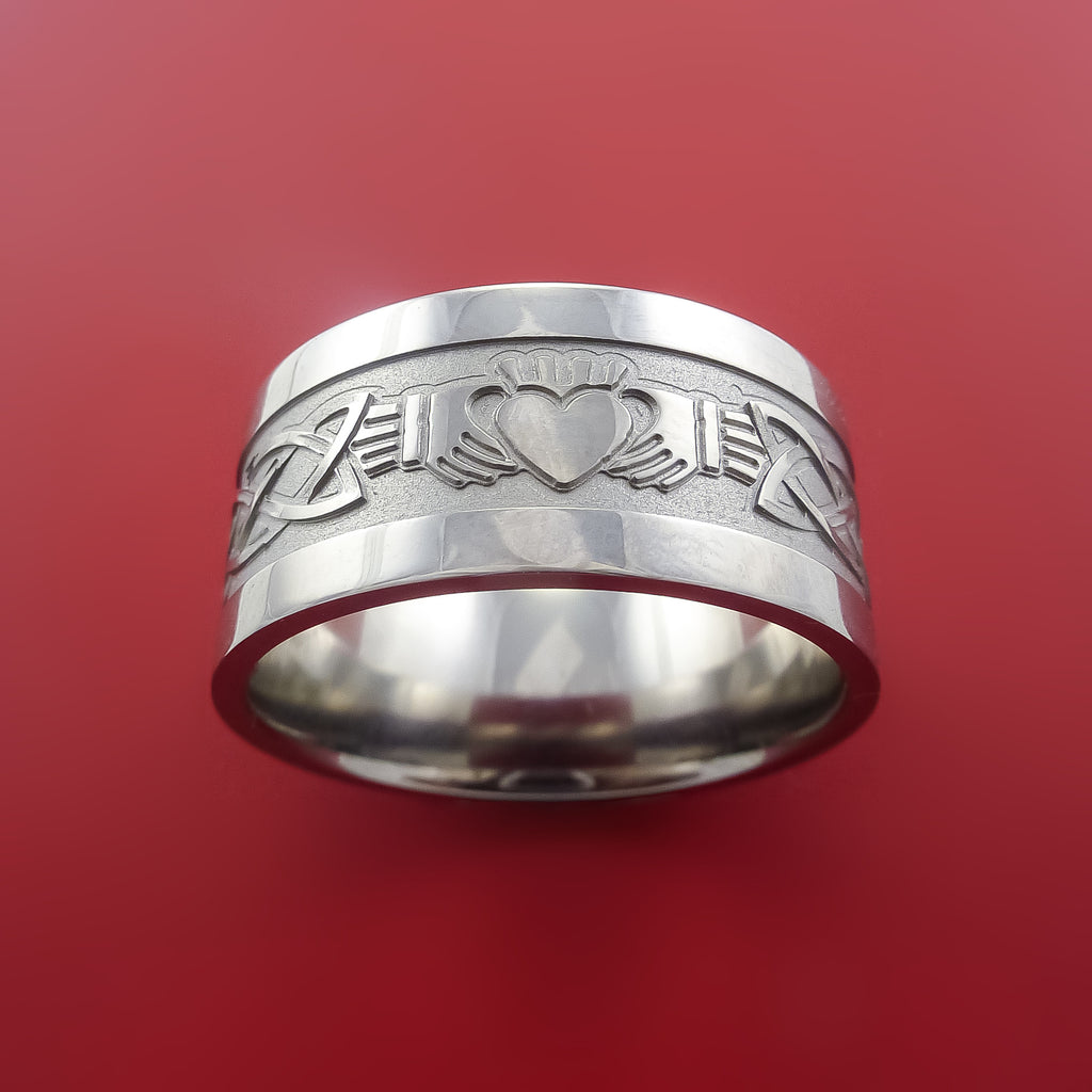 Titanium Celtic Irish Claddagh Ring Hands Clasping a Heart Band Carved Any Size Ring 4 to 20 - Stonebrook Jewelry  - 2