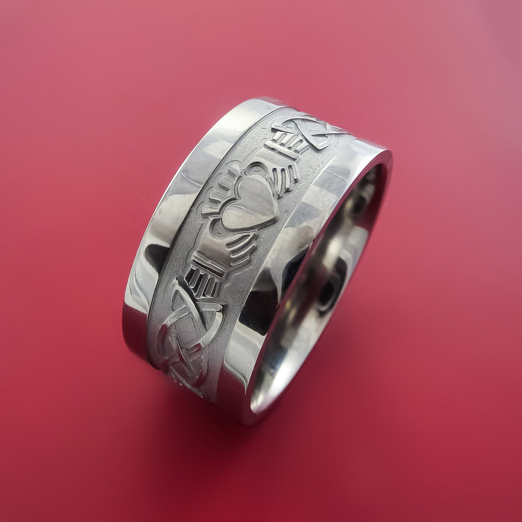 Titanium Celtic Irish Claddagh Ring Hands Clasping a Heart Band Carved Any Size Ring 4 to 20 - Stonebrook Jewelry  - 4