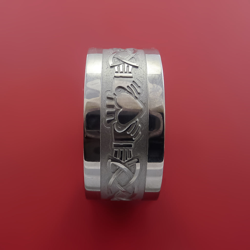 Titanium Celtic Irish Claddagh Ring Hands Clasping a Heart Band Carved Any Size Ring 4 to 20 - Stonebrook Jewelry  - 5