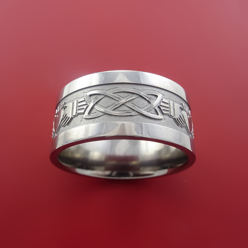Titanium Celtic Irish Claddagh Ring Hands Clasping a Heart Band Carved Any Size Ring 4 to 20 - Stonebrook Jewelry  - 3