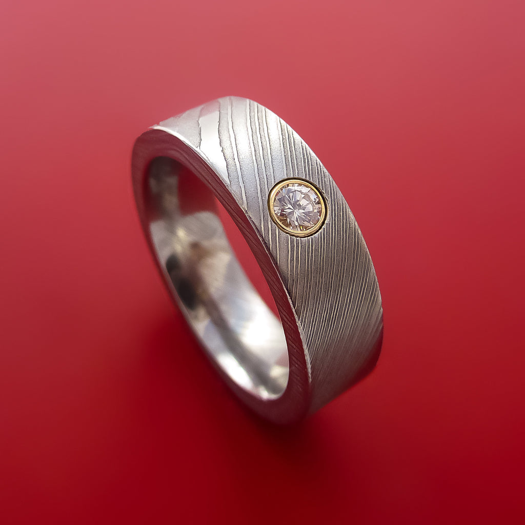 Damascus Steel Band with Diamond Custom Made Ring