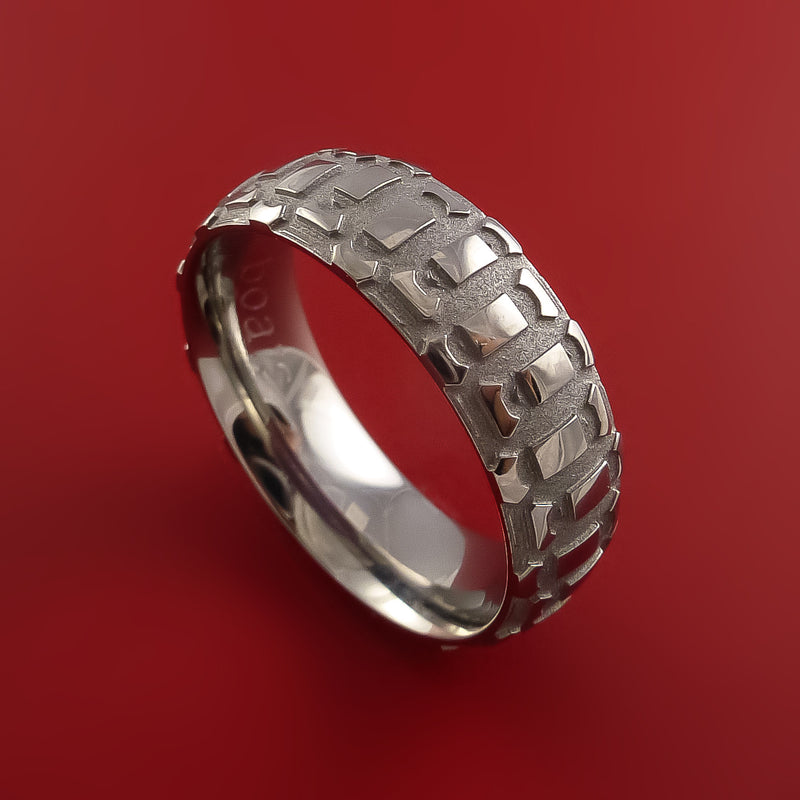 Titanium Ring with Dirt Bike Tire Tread Pattern Inlay Custom Made Band