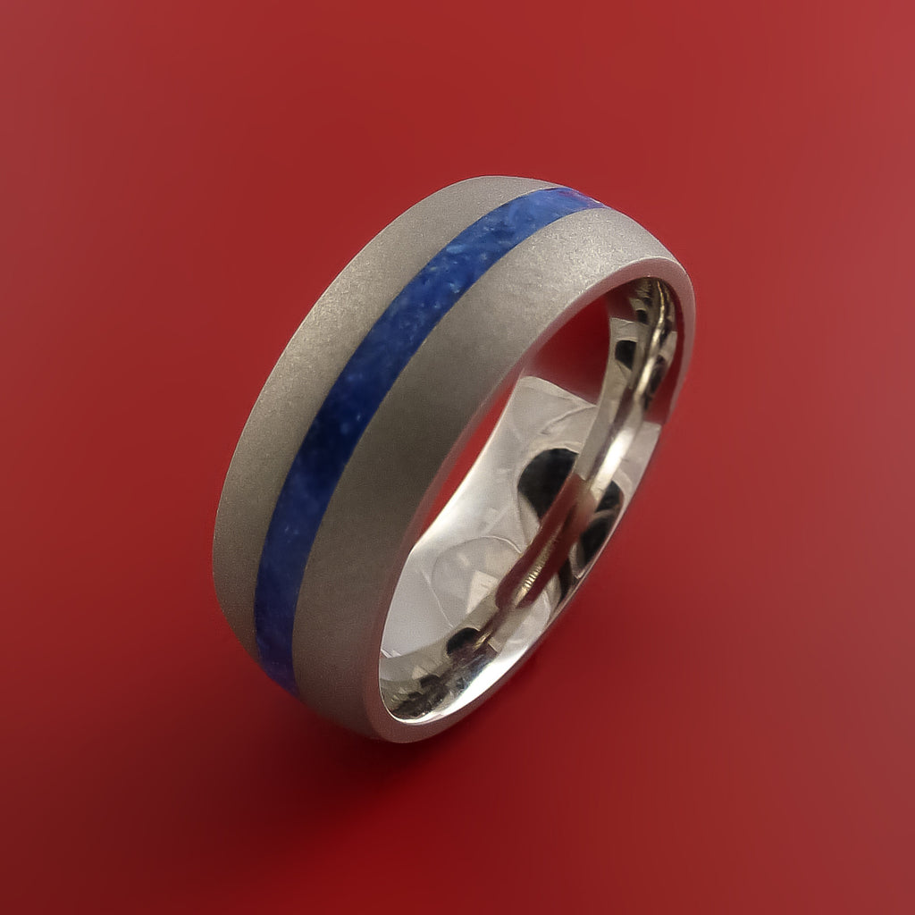 Cobalt Chrome Ring with Lapis Inlay Custom Made Band