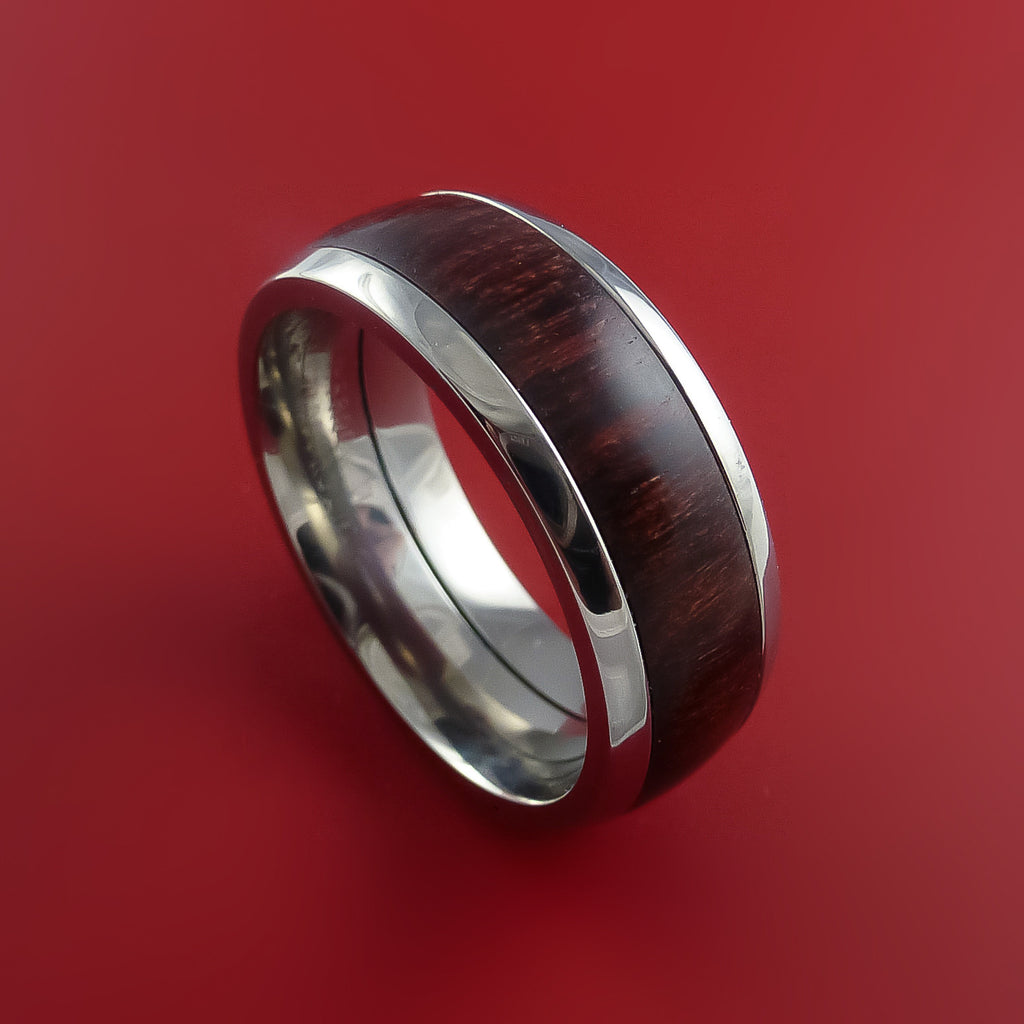Wood Ring and Titanium Ring inlaid with Red Heart Custom Made to Any Size and Optional Wood Types
