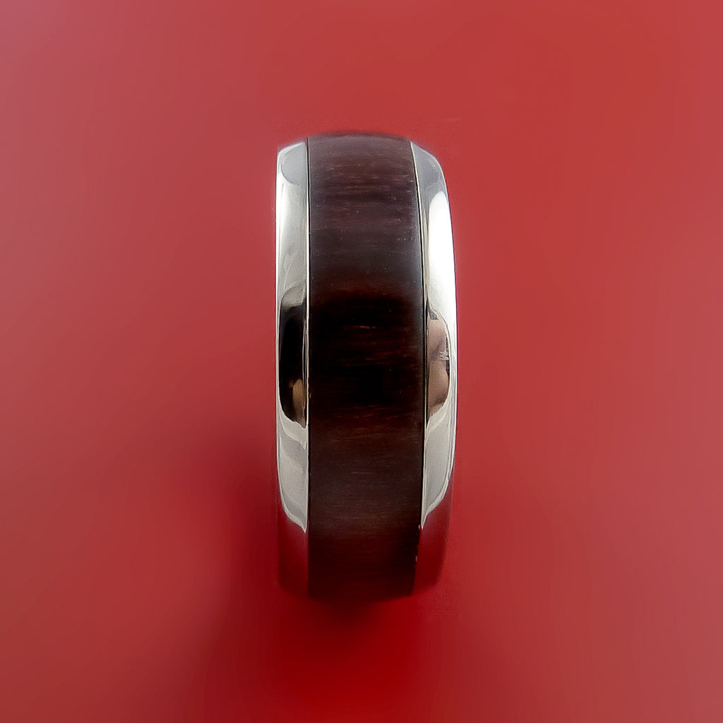 Wood Ring and Titanium Ring inlaid with ROSEWOOD Custom Made to Any Size and Optional Wood Types by Stonebrook Jewelry