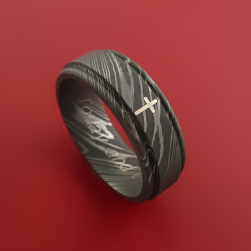 Damascus Steel Ring with Sterling Silver Cross Inlay Custom Made Band