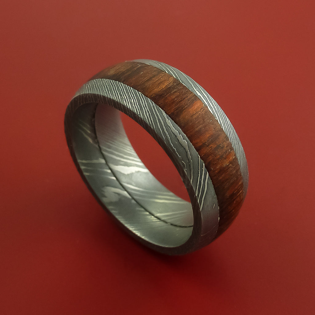 Wood Ring and DAMASCUS Ring inlaid with ROSEWOOD Custom Made to Any Size and Optional Wood Types by Stonebrook Jewelry