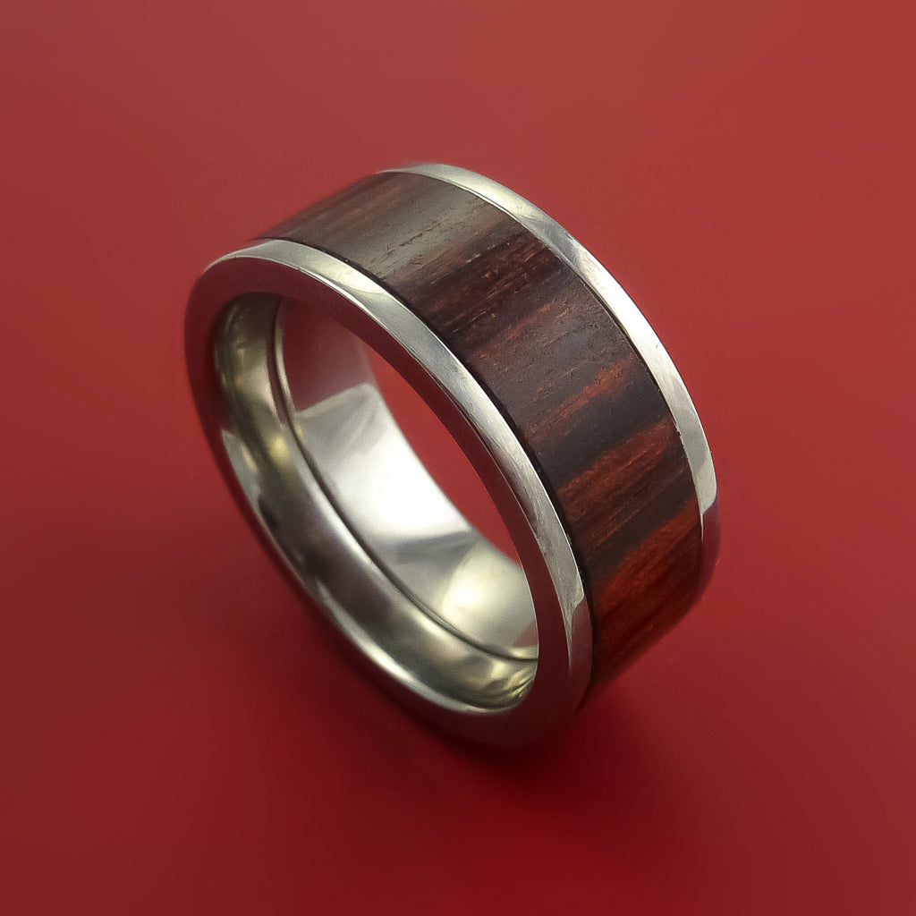 Wide Wood Ring and Titanium Ring inlaid with ROSEWOOD Custom Made to Any Size and Optional Wood Types by Stonebrook Jewelry