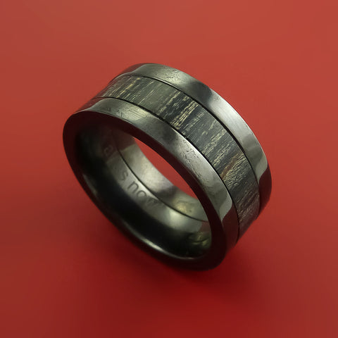 Wood Ring and BLACK ZIRCONIUM Ring inlaid with CHARCOAL WOOD Custom Made to Any Size and Optional Wood Types