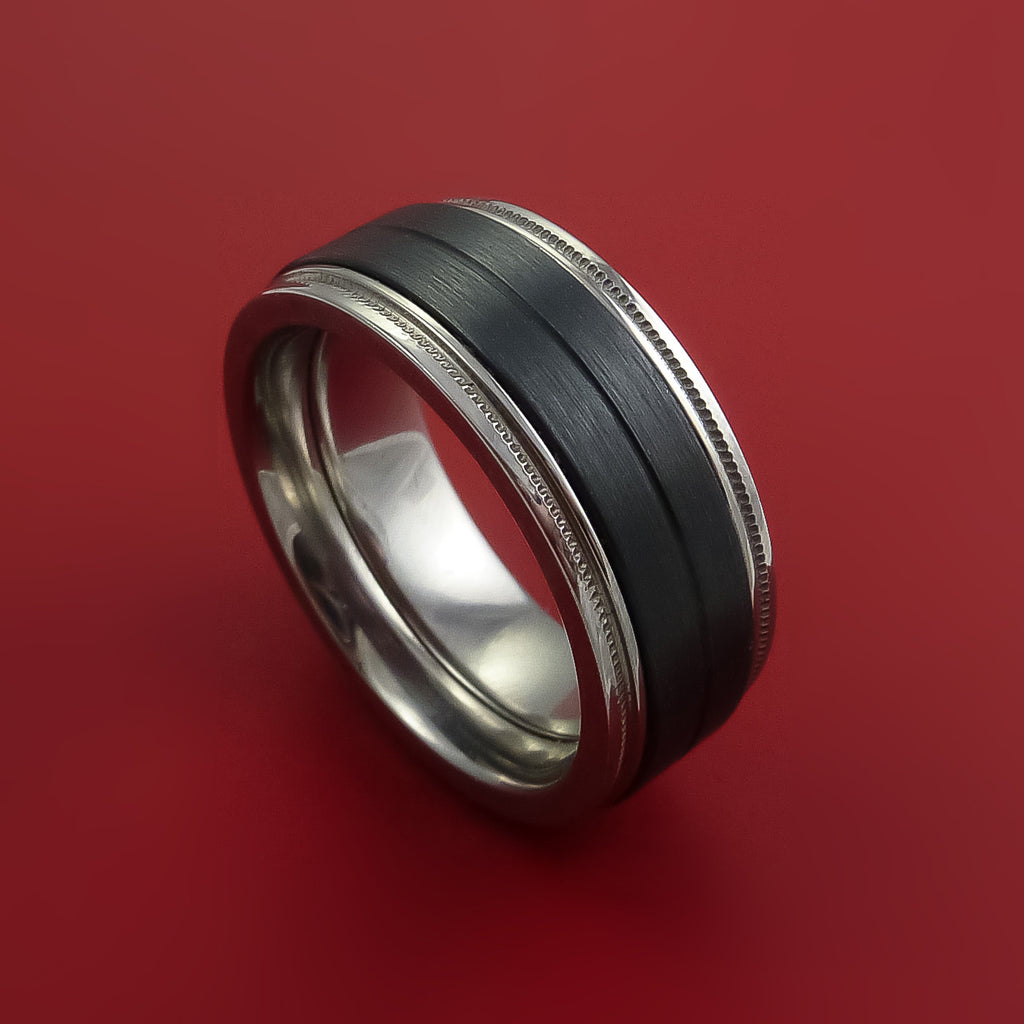 Black Zirconium and Titanium Ring Zipper Style Band Made to Any Sizing and Finish