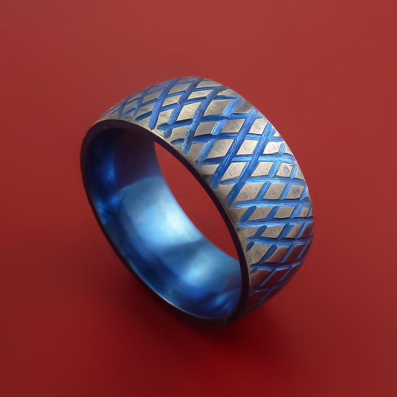 Titanium Reptile Skin Tron Blue Anodized Finish Band Unique and Modern Made Ring