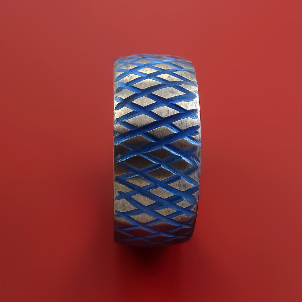 Titanium Reptile Skin Tron Blue Anodized Finish Band Unique and Modern Made Ring - Stonebrook Jewelry  - 4